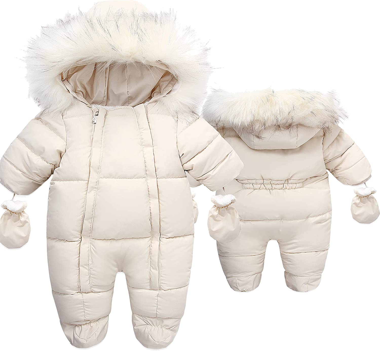 Baby Fleece Snowsuit Warm Hooded Puffer Winter Coat Romper with Gloves Shoes
