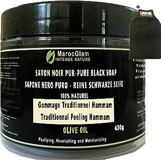 Savon Noir Gommage 430g + Gant Kessa OFFERT, à l'huile d'olive 100% NATUREL, HAMMAM ET SPA, TRADITIONNEL 100% PUR à l'huil...