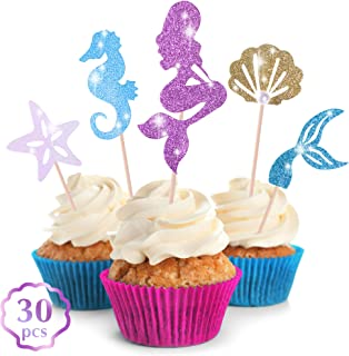 Get Fresh Mermaid Cupcake Toppers Decorations – 30-pcs Glittery Mermaid Tail Cupcake Toppers Set for Under The Sea Party – The Little Mermaid Cupcake Toppers to be Used as Under The Sea Cupcake Picks