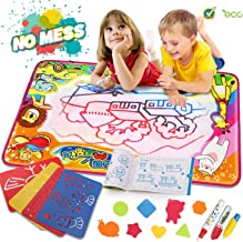 Water Drawing Mat Aqua Magic Doodle Mat Kids Toys Mess Free Kids Painting Writing Doodle Board Toy Educational Writing Mats Xmas Gift for Toddlers Boys Girls Age of 2,3,4,5,6 Year Old Size 34.5