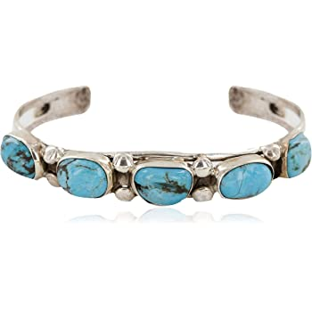 $600Tag Certified Nuggets Silver Navajo Natural Turquoise Native Bracelet 12798-1 Made by Loma Siiva