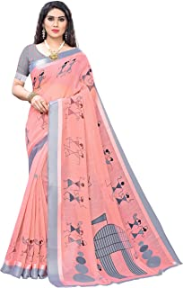 Anni Designer Women's Pink Linen Printed Saree With Blouse Piece (AYODHYA PINK_Free Size)