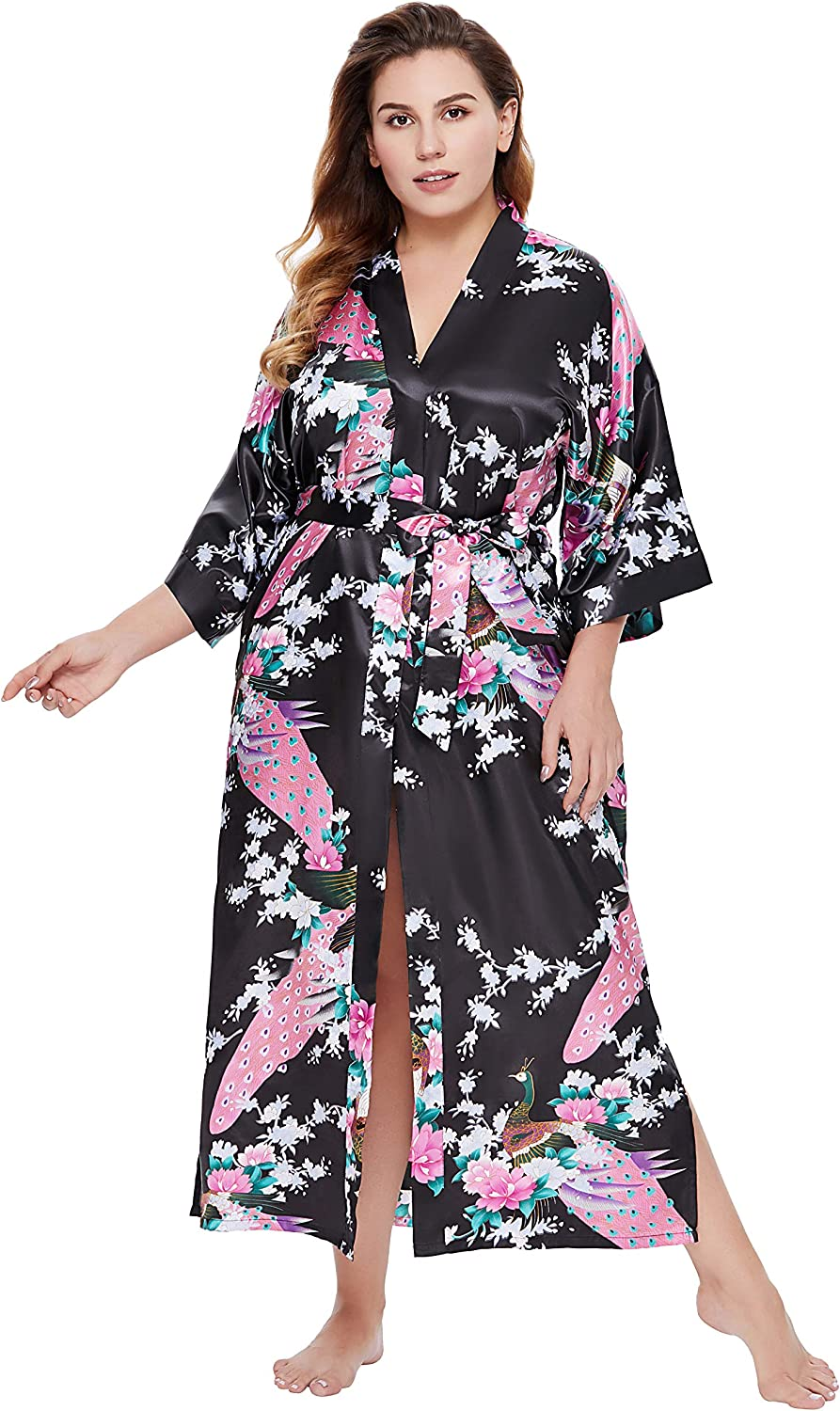 BABEYOND Women's Plus Size Kimono Max 5 ☆ very popular 47% OFF Robe a Robes Peacock with Long