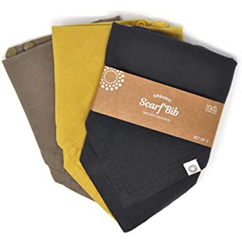 Indi by Kishu Baby - Organic Baby Bandana Scarf Bibs with Snaps - 100% Organic Cotton Muslin - 3 Pack Solid Color Super Soft and Absorbent Drool Bibs - Multi-use (Charcoal Mustard Olive)