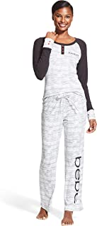 bebe Womens Long Sleeve Shirt and Skinny Leg Pants Lounge Pajama Sleep Set