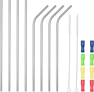 SipWell 8 Piece Set Extra Long Stainless Steel Drinking Straws W/Silicone Tips - Metal Drinking Staw w/Cleaning Brush - Perfect for Tumblers/Rumblers/Cups/Mugs, Easy Clean - For All Beverage