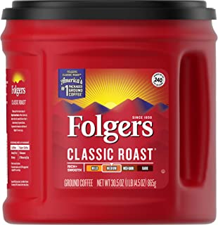 Folgers Classic Roast Medium Roast Ground Coffee, 30.5 Ounces (Pack of 6)