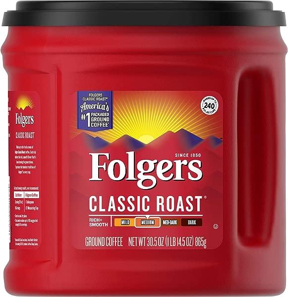 Folgers Classic Roast 咖啡中度烘焙 30 12-36 月盎司包的包装可能会有所不同