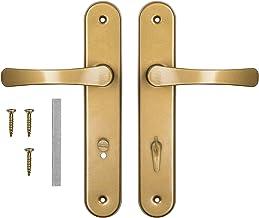 ADGO Deurgreep Set Handgrepen voor de WC-deur voor de Toiletbadkamer 72 mm Biscuit, Aluminium Handgreep, Stalen Plaat Gepo...