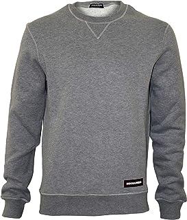 DSquared2 Luxe Fleece-Lined Crew-Neck Men's Sweatshirt, Grey Melange