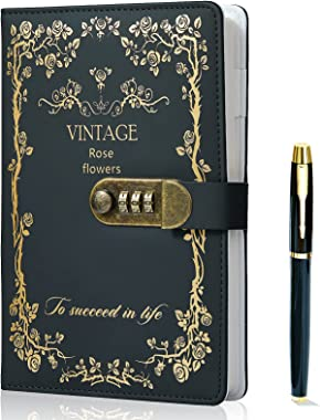 Lock Diary+Gold Pen Set,Vintage Leather Writing Journal Notebook Personal Organizers Planner Agenda Diary for Women Men