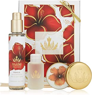 Malie Organics(マリエオーガニクス) ホームアンビエンスボックス ハイビスカス (セット内容:Reed Diffuser Travel 59ml / Linen&Room Spray 148ml / Soy Candle Travel 60g)