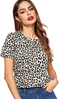 SweatyRocks Women's Leopard Print Short Sleeve Round Neck Casual T Shirt Tops