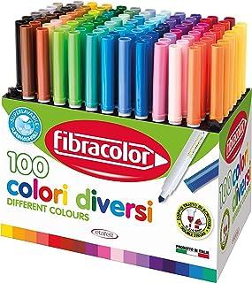 Fibracolor 100 kleuren - koffer 100 viltstiften conisch in 100 verschillende kleuren super wasbaar