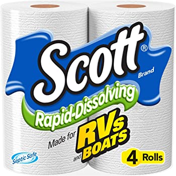 Scott Rapid Dissolving Toilet Paper, Bath Tissue for RVs and Boats, 48 Rolls
