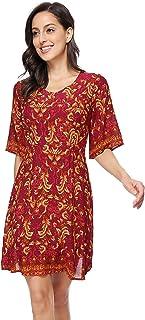FUWA Women's Half Sleeve Summer Bohomain Midi Dress Boho Casual Dresses