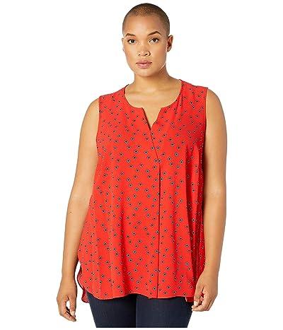 Vince Camuto Specialty Size Plus Size Sleeveless Playful Foulard Split-Neck Pleat Front Blouse (Crimson Red) Women