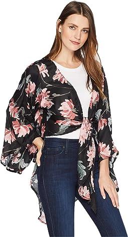 Large Floral Tie Front Kimono