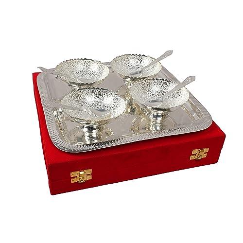 Royal Sapphire Brass Bowl Spoon & Tray Set 9 Piece Silver