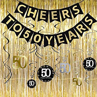 50th Birthday Party Decorations KIT - Cheers to 50 Years Banner, Sparkling Celebration 50 Hanging Swirls,Gold Foil Fringe Curtain, Perfect 50 Years Old Party Supplies 50th Anniversary Decorations