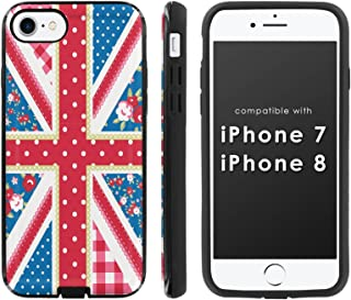 [Mobiflare] Slim Dual Layer Phone Case FITS i-Phone [7] [7S] [8] [Black/Black] Slim Dual Shock Phone Cover - [Shabby Chic Union Jack]