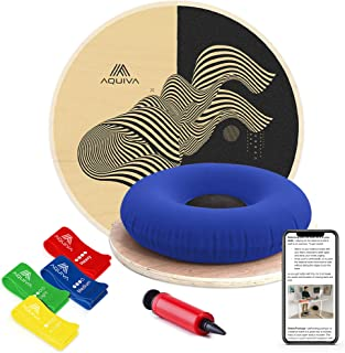 AQUIVA Wooden Circular Wobble Balance Board with Resistance Loop Band