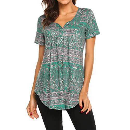 2f4127b0c27 Women's Paisley Printed Long Sleeve Henley V Neck Pleated Casual Flare Tunic  Blouse Shirt