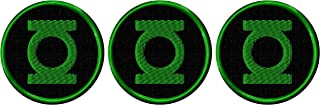 Green Lantern Logo Shield Embroidered Iron On Patch Set of 3 Patches