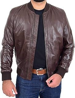 Mens Soft Leather MA-1 Bomber Jacket Varsity Style Ryan Brown