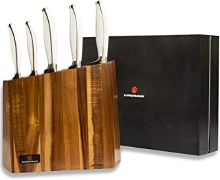 Kurschmann 6-Piece Kitchen Knife Set in Modern Acacia Block, White Rivetless Handles with German Stainless Steel Chef's Knife, Santoku, Bread, Paring, and Utility Knives