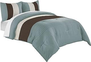 Chezmoi Collection Harper 3-Piece Luxury Striped Comforter Set (Queen, Blue/Brown/Beige)