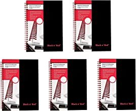 Black n' Red Twin Spiral Hardcover Notebook, Medium, Black/Red, 70 Ruled Sheets, Pack of 5 (L67000)