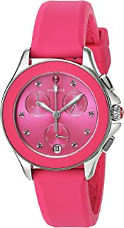 MICHELE Women's Cape Topaz Stainless Steel Quartz Watch with Silicone Strap, Pink, 16 (Model: MWW27C000010)