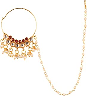 Touchstone New Indian Bollywood Desire Kundan Polki Look Designer Bridal Jewelry Nath (Nose Accessory) in Gold Tone for Women.