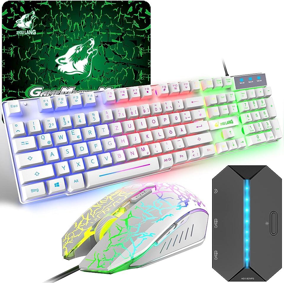 Gaming Tastatur und Maus Set mit Adapter, QWERTZ German Layout Farbbeleuchtung Keyboard 6 Tasten 2400 DPI Maus und Mauspad, USB Verkabelt Ergonomische Design Kompatibel mit PS4 Xbox Switch, Weiß