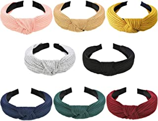 Wide Headbands Knot Turban Headband Plain Fashion Elastic Hairband Head Wrap Hair Hoops for Women and Girls (Knot Headband-8)