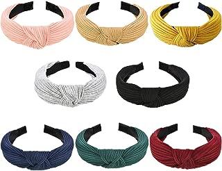 Wide Headbands Knot Turban Headband Plain Fashion Elastic Hairband Head Wrap Hair Hoops for Women and Girls (Knot-8)