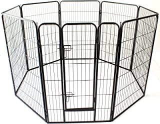 Heavy Duty Pet Dog PlayPen Puppy Exercise Play Pen Fence Enclosure Gate 8 Panels Heavy-Duty Crate Cage (XL 120cm)