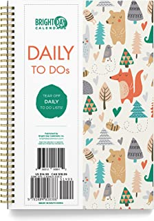 Undated Woodland Critters Soft Cover Day Planner Spiral Bound Organizer Book by Bright Day, Daily to Do List Notes and Goa...