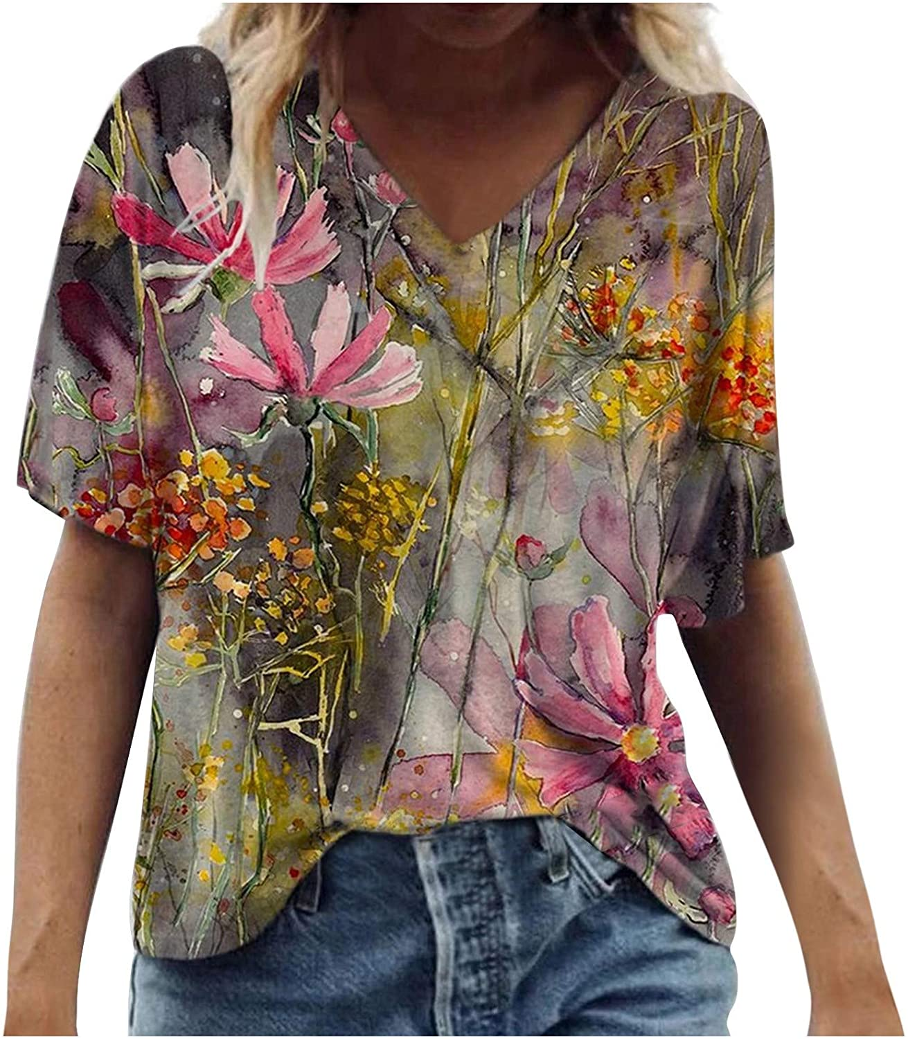 Floral Graphic Tie Die Tees for Women V-Neck Tops Short Sleeve T-Shirts Casual Blouses