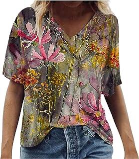 IBAOBAO Damen 3D Bunt T-Shirt Sommer Kurzarm Oberteile Blumen Motiv Tunika Shirt Pusteblume Druck Lose V-Ausschnitte/Rundhals Tshirt Bluse Tops