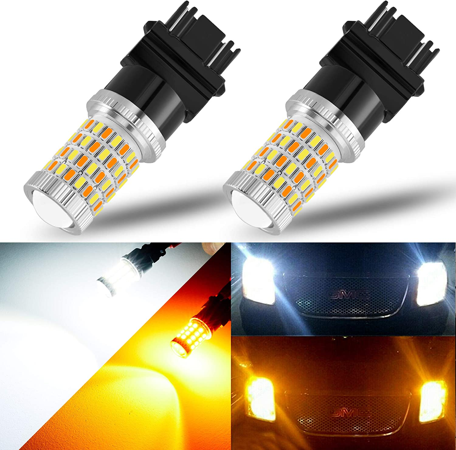 AUXLIGHT 1157 2057 2357 7528 Switchback LED Bulbs 76SMD Chipsets White//Amber with Projector Replacement for Front//Rear Turn Signal Parking Daytime Running Lights//DRL Pack of 2