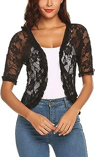 Women's Lace Crochet Cardigan Ruffle Half Sleeve Open Front Casual Bolero Shrug S-XXL