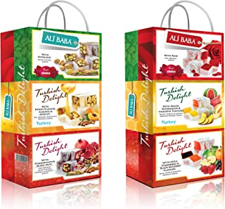 Turkish Delight Variety Gift Set Assorted Flavors Pomegranate Mix Nuts Melon Watermelon Pineapple Rose Pistachios Honey Almond Apricot Apple Strawberry Mulberry Six box set Total 600 Grams 1.4 Lb