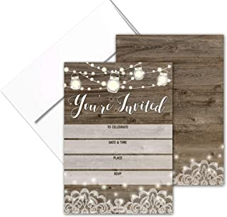 You're Invited - Rustic Fill-in Party Invitations with Envelopes - 25 Invites & Envelopes - Wedding, Baby Shower, Rehearsal Dinner, Birthday Party (Rustic Youre Invited)