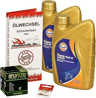 Gulf 10W 40 Öl + HiFlo Ölfilter für Honda VT 125 C/C2 Shadow, 99 08, JC29 JC31   Ölwechselset inkl. Motoröl, Filter, Dichtring