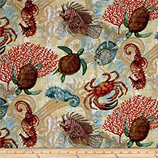 Wild Wings Aquarian sea Horse Crab Turtle 100% Cotton Fabric by The Yard