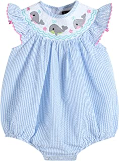 Baby & Toddler Girls Smocked Flutter Sleeve One Piece Bubble Romper