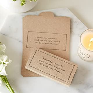 ANGEL & DOVE 25 Kraft Card Funeral Tissue Wraps 'Sometimes Memories Sneak Out of Your Eyes' - Remembrance, Condolence, Celebration of Life, Memorial, Memory Table, Funeral Favors