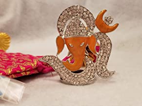 Colors Team USA Orange Metal Studded OM Ganesh Set with Gift Bag and Festive Message, Ganesha/Ganpati Idol for Temple, Car...